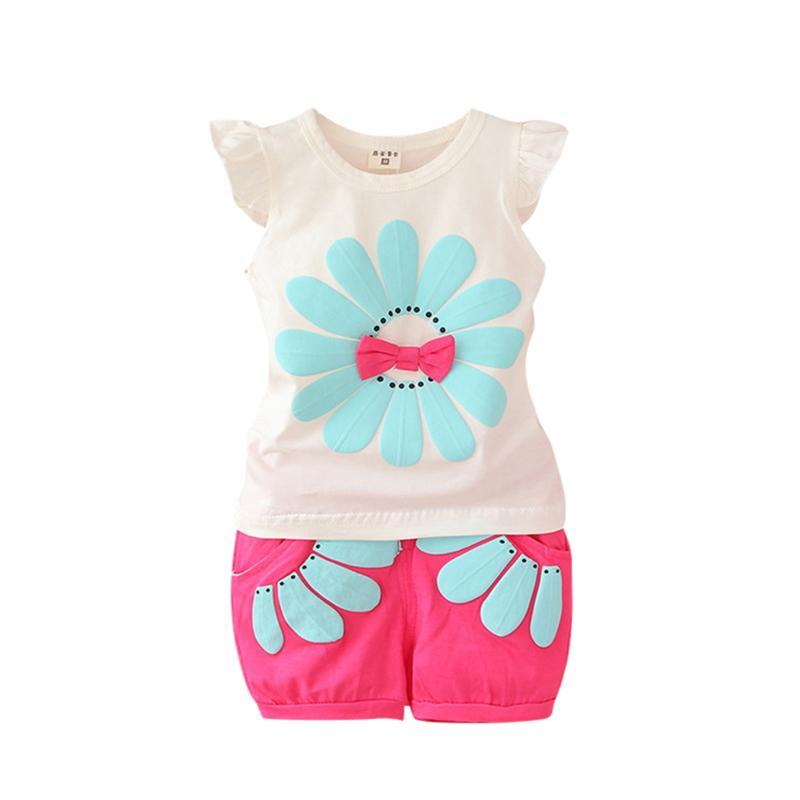 2 3 4 Years Girls Suits 2017 Summer New Style Floral Kids Clothes Casual Cotton Toddler Children Clothing Set