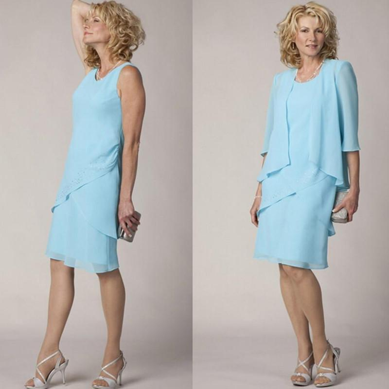 Elegant Light Blue Chiffon Mother of the Bride Groom Dress with Half ...