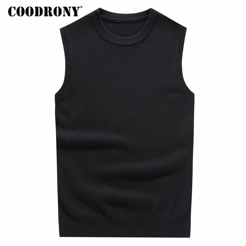 COODRONY O-Neck Sleeveless Vest Sweater Men Winter Thick Warm Cashmere Sweaters Plus Size Pull Homme 100% Merino Wool Vests 7343