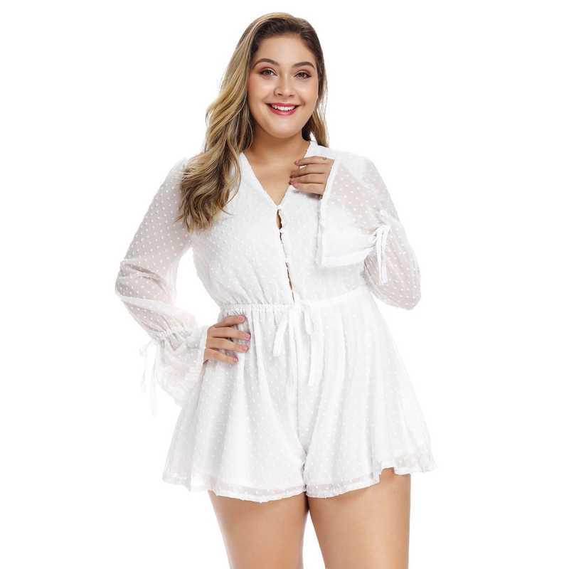 Женские модные шорты, летнее шифоновое большого размера, сексуальные сиамские шорты, бандажные кружевные полупрозрачные, v-образный вырез, вечерние, пляжные, с длинными рукавами