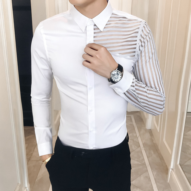 See Through Lace Hollow Men Shirt Long Sleeve