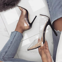 Perixire Women Pumps Transparent Super High Heels Sexy Pointed Toe Slip-on Wedding Party Shoes For Lady Thin Heels  Pumps kjstyrka women pumps 2018 autumn shoes transparent 10cm high heels sexy pointed toe slip on clear party dress shoes for lady