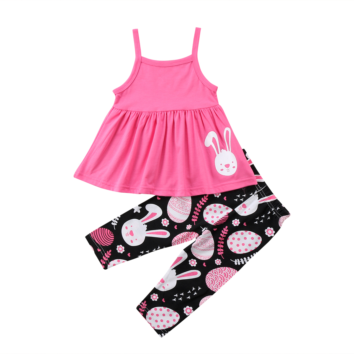 Cool New Kids Baby Girls Easter Clothes Set Bunny Print