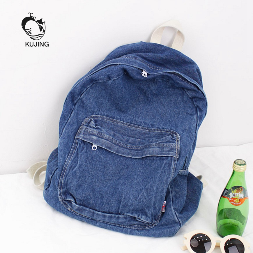 KUJING Backpack High Quality Cowboy Large Capacity Student Backpack Art Youth Canvas Backpack Hot Travel Casual Women Backpack