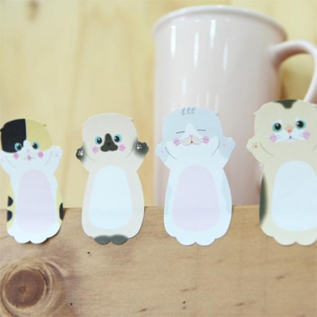 32 unids/lote Bloc de notas adhesivas gato y veces marcador de animales lindos pegatinas de etiquetas de papelería escolar