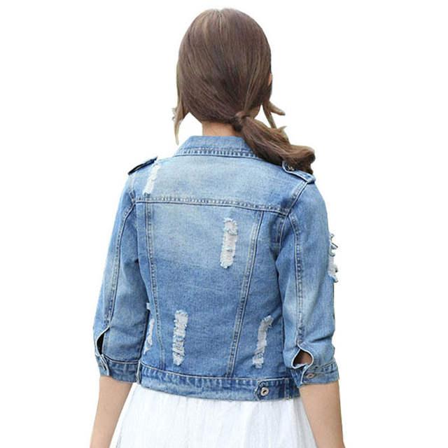 f5809dcf340 placeholder Voobuyla Brand Plus Size 5XL Spirng Denim Jacket For Women 2016  Three Quarter Short Jeans Jacket