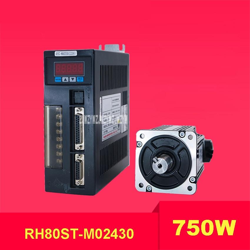 цена на New High Quality 750W Servo Motor Driver Set RH80ST-M02430 220V 2.4N.M 3000r/min 80*80mm AC Servo Motor+Drive Kit +3M Motor Line