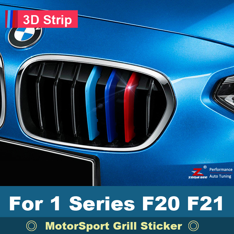 For 2012 to 2017 BMW 1 series F20 F21 3D M Car Front Grille Trim Sport Stripe grill Cover Sticker 3 series carbon front bumper racing grill grills for bmw f30 f31 standard sport 12 16 320i 325i 330i 340i non m3 style car cover