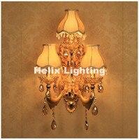 Новое поступление, хрустальные настенные светильники, 3 освещения, золотой цвет, винтажные настенные бра, свет E14, светодиодный настенный кр
