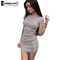 Everkaki Women Skinny Bandage Short Dress Bodycon Solid High Waist Lace Up Grey Dresses Vestidos Female
