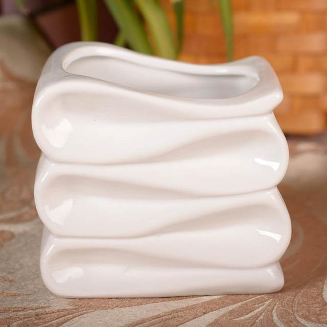 [JK0003] - 1 Piece Wave Stripe Ceramic Flower Simulation Flower Vases Ornaments Wholesale Partition Home Furnishing Plug SIBAOLU & JK0003] 1 Piece Wave Stripe Ceramic Flower Simulation Flower Vases ...