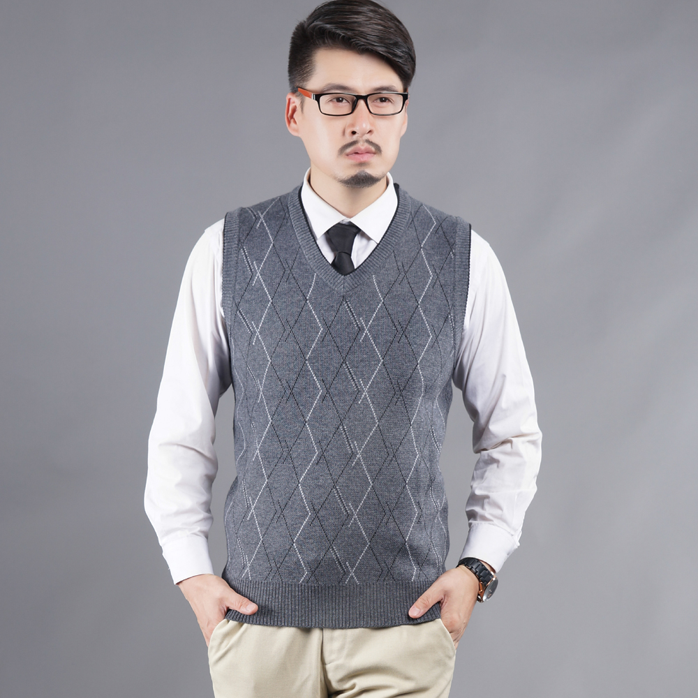 2016 Hot Sale Autumn And Winter Mens V Neck Sleeveless Plaid Cotton & Wool Sweater Vest