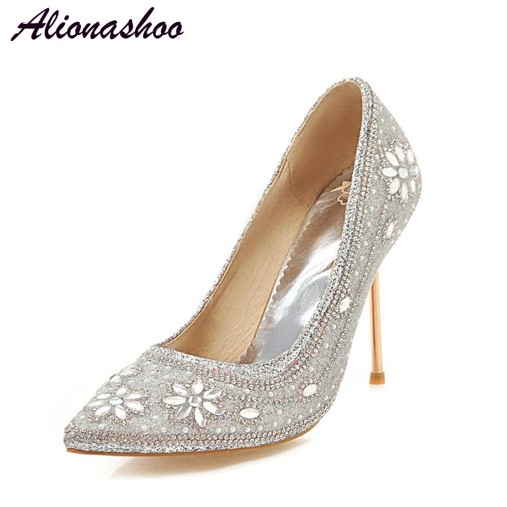 Alionashoo mode strass pompes chaussures femmes doux cristal chaussures de mariage talons bout pointu bijoux hauts talons grande taille 34-48