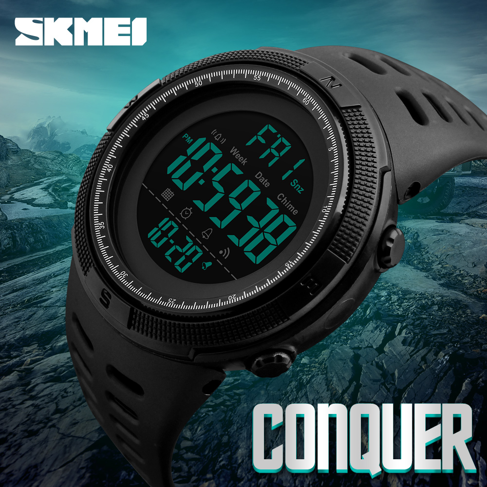 SKMEI Famous Luxury Brand Mens Sport Watches Chrono Countdown Men Waterproof Digital Watch Military Clock Fashion Relojes Hombre(China)