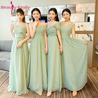 아름다움 에밀리 말 녹색 쉬폰 긴 신부 들러리 드레스 2018 A 라인 민소매 웨딩 파티 소녀 댄스 파티 드레
