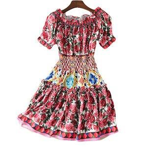 Image 3 - Короткое модельное платье высокого качества, 2020 летние новые женские модные вечерние богемные пляжные Сексуальные винтажные элегантные платья с принтом
