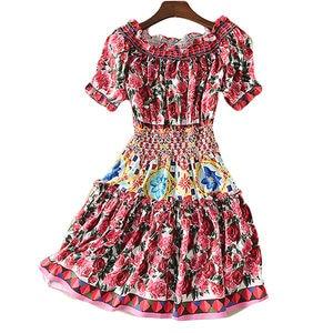 Image 3 - Short Dress Runway High Quality 2020 Summer New WomenS Fashion Party Boho Beach Sexy Vintage Elegant Chic Print Dresses
