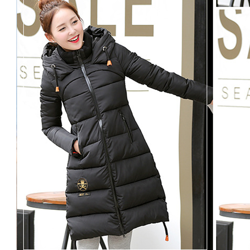 Plus Size 2016 New Fashion Winter British Cloth Paste Hooded Long Sleeve Thicken Long Coat Down