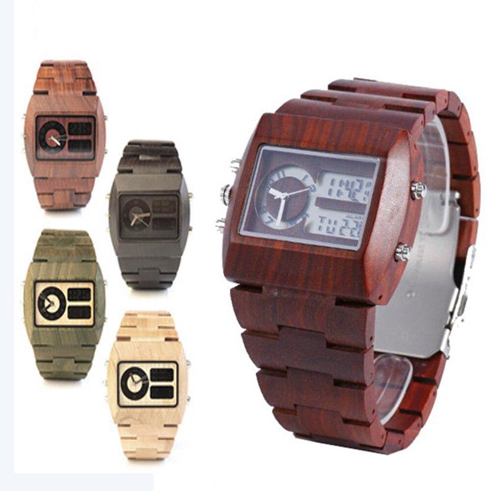 Luxury Mens Wood Watch LEd Show Analog Digital Wood Watch Men Top Selling UWOOD Analog Digital