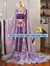 Women Costume Tailed Cosplay Photpgraphy Costume Tang Suit Purple Pink Three-Piece Set Costume for Women