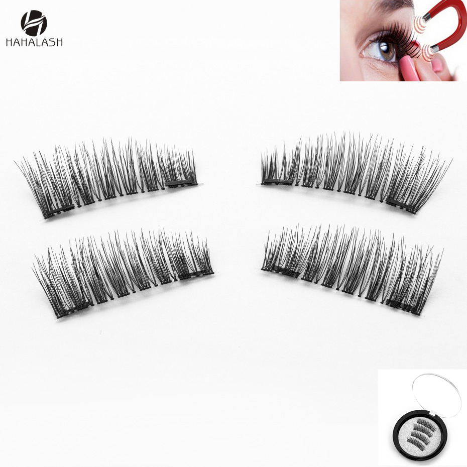 3812a18ae39 HaHaLash synthetic fake eyelashes magnetic two or three magnets on 4  pcs/pair China Factory outlet small round box 3D faux mink