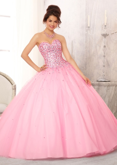 new 2017 Sparkly Pink Blue Beaded Ball Gown High School Prom ...