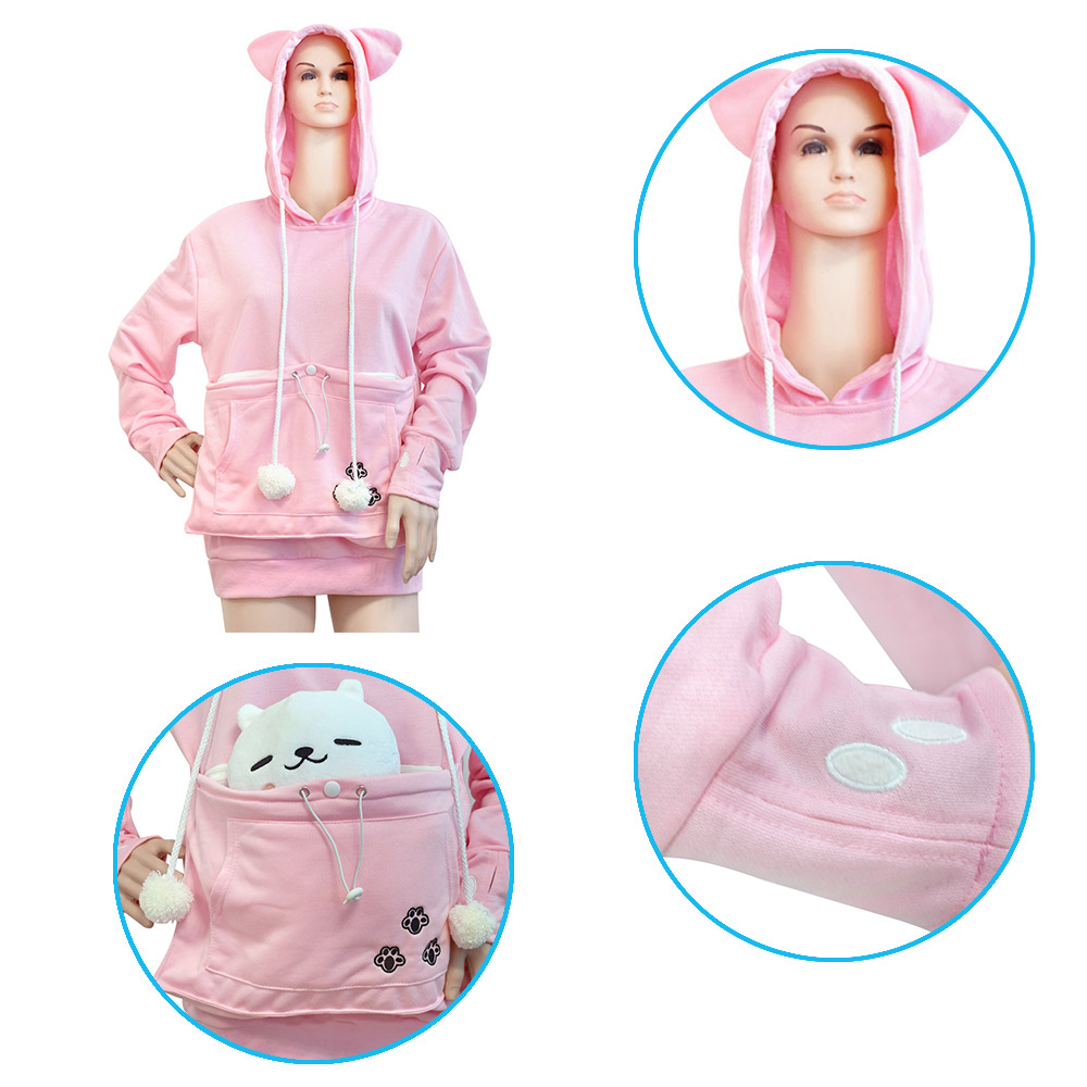 Cotton Blended Mewgaroo Hoodie Cat Dog Pet Casual Unisex - Hoodie with kangaroo pouch is the perfect cat accessory