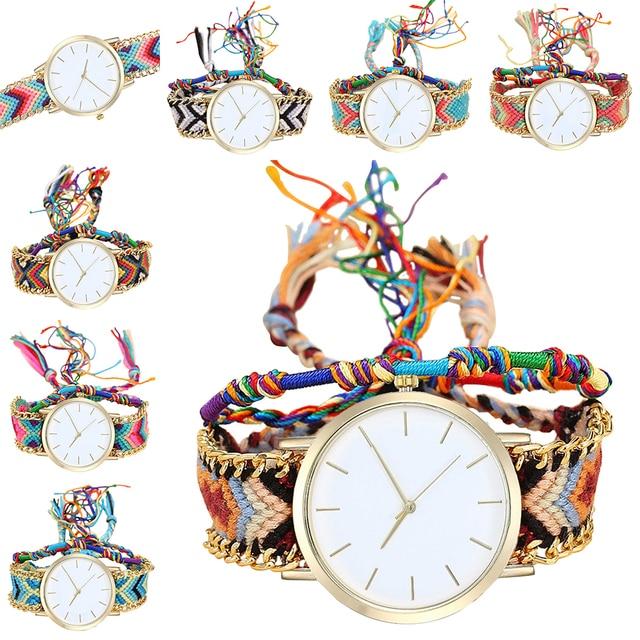 Handmade Braided Dreamcatcher Friendship Bracelet Watch Ladies Rope Watch Quarzt