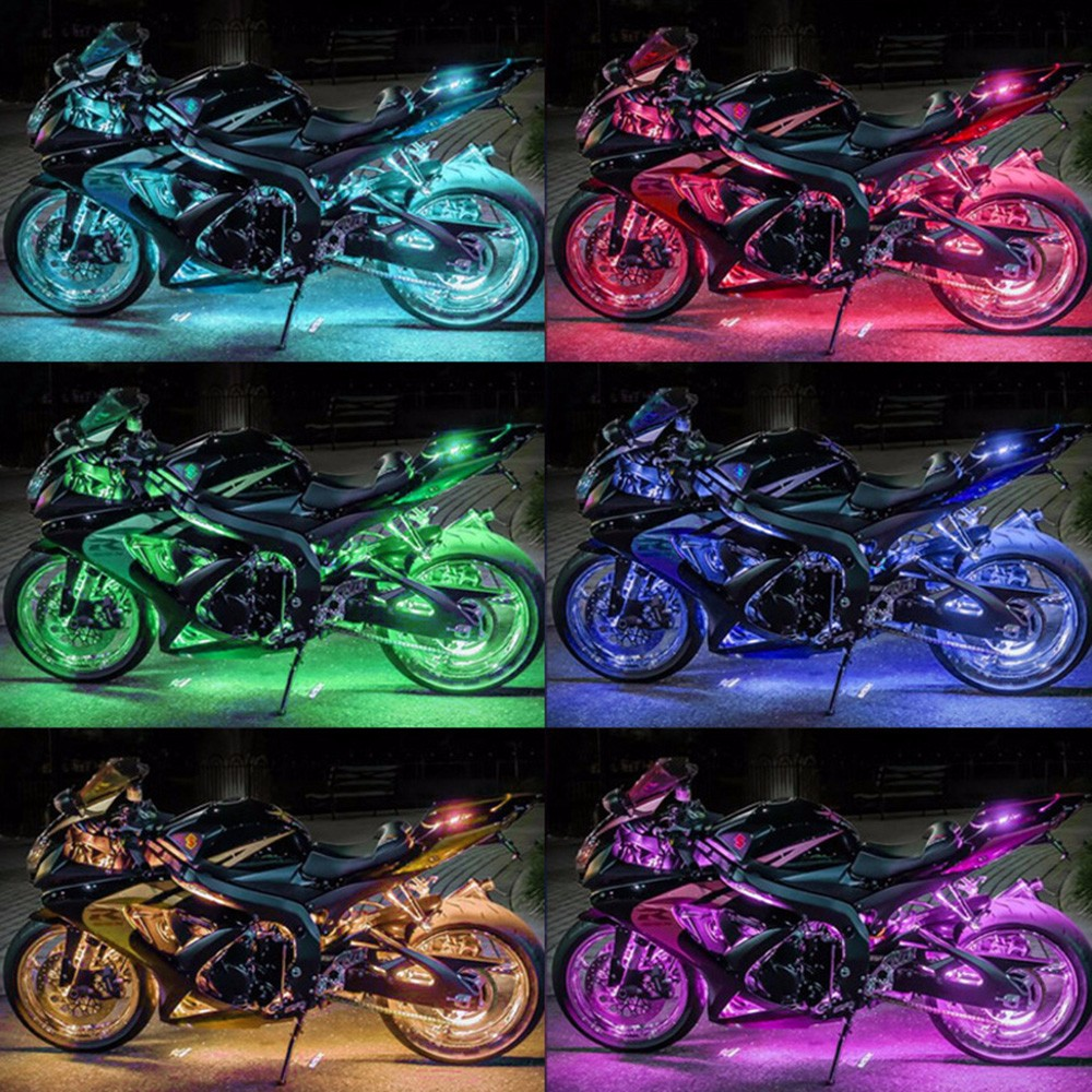 6 RGB Music Control Wireless Remote LED Car Motorcycle Light Atmosphere Lamp with Smart Brake Light Accent Neon Style Light Kit 2 4g wireless control 360 rgb color neon glow interior underdash foot accent ambient light for mitsubishi carisma 1995 2004