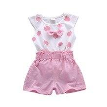 Toddler Baby Girls Summer Sets Print Bowknot 2pcs Girls Summer Set Kid