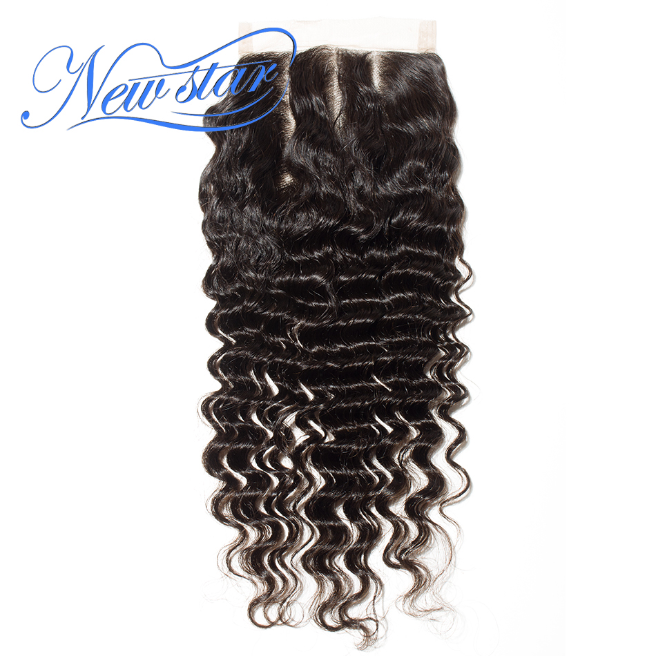 Brazilian Deep Wave Hair Lace 5x5 Closures New Star 100%Virgin Human Hair Free/3 Part With Baby Hair Swiss Lace ...