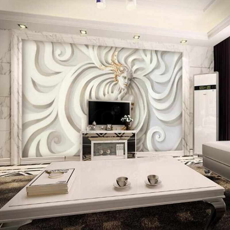 Обои на заказ, рельефный гипсовый фон, 3D обои, домашний декоративный диван, ТВ, Настенные обои, МУРАЛ