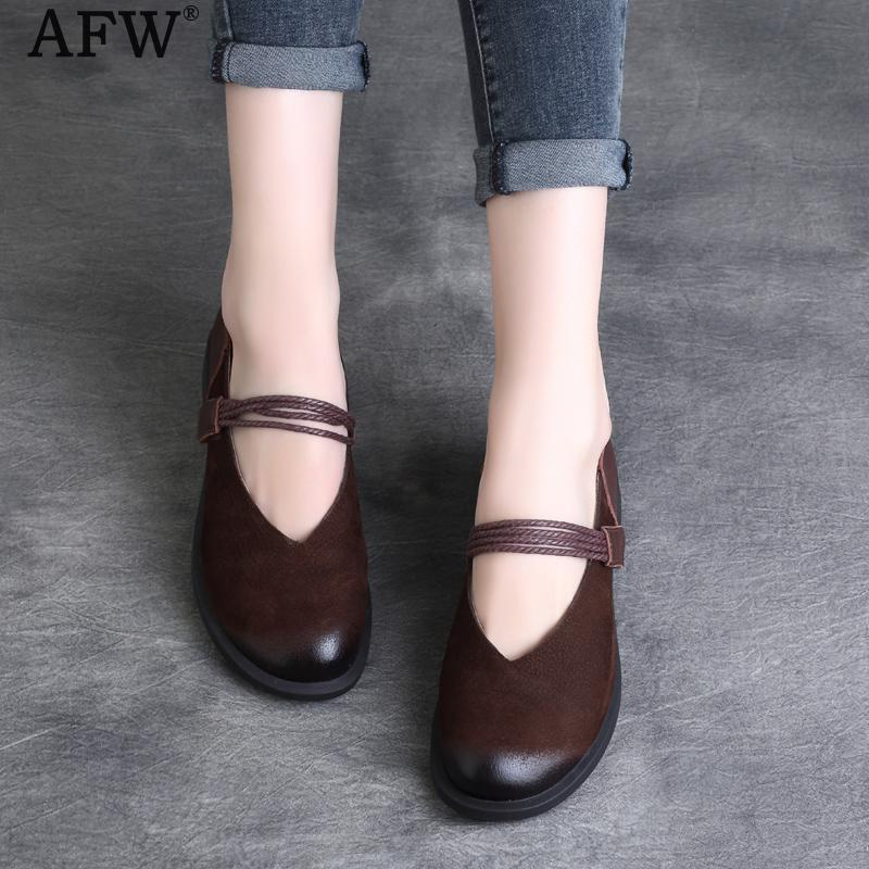 AFW Women Casual Leather Flat Shoes Low Heel Mary Jane Flats Retro Handmade Women Genuine Leather Shoes Comfortable 2018 Spring new summer british style genuine leather flat retro shoes women breathable women flats casual comfortable shallow shoes ny8813