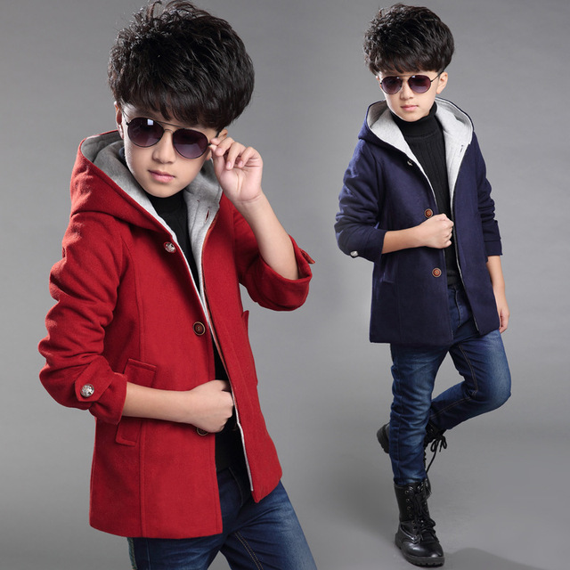2016 Selling New Children's Clothing, Boys Autumn And Winter Long Section Of Thick Warm Hooded Red Coat Slim Woolen Coat Jacket