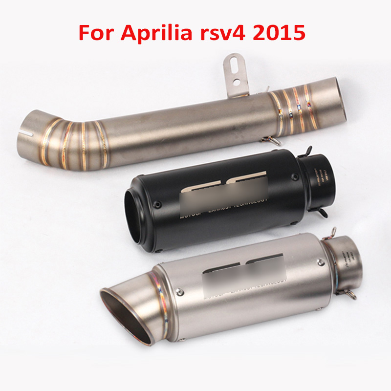 RSV4 Motorcycle Exhaust System Tip Silencer Pipe Middle Link Tube Whole Set for Aprilia rsv4 2015