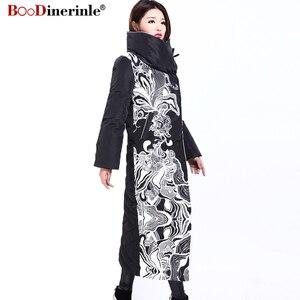 Image 2 - Winter Jacke Frauen X Lange Druck Dünne Dicke Weiße Ente Unten Mantel Elegante Mode Weibliche Warme Mantel BOoDinerinle YR159
