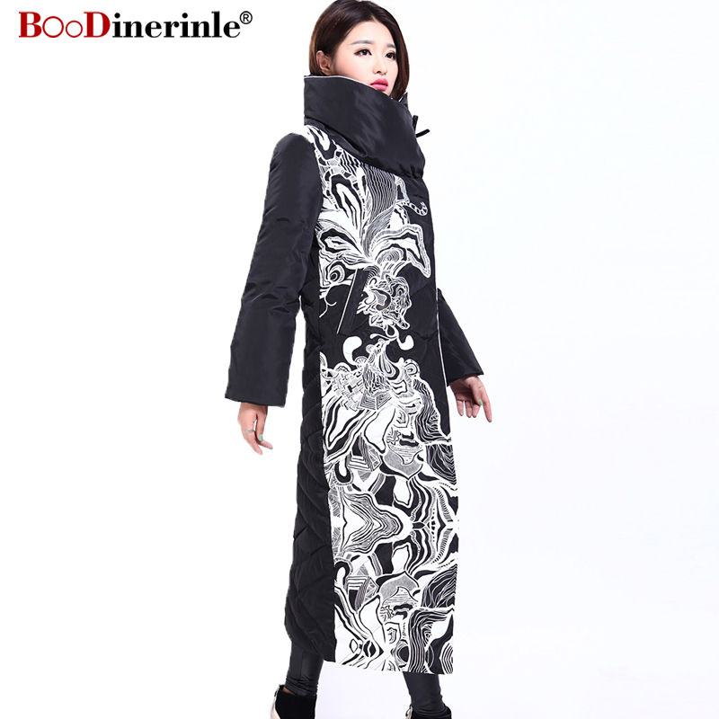 Image 2 - Winter Jacket Women X Long Print Slim Thick White Duck Down Coat Elegant Fashion Female Warm Overcoat BOoDinerinle YR159-in Down Coats from Women's Clothing