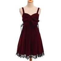 Girls Lolita Velvet Big Bow Lace Trim Suspender Dress Burgundy Black