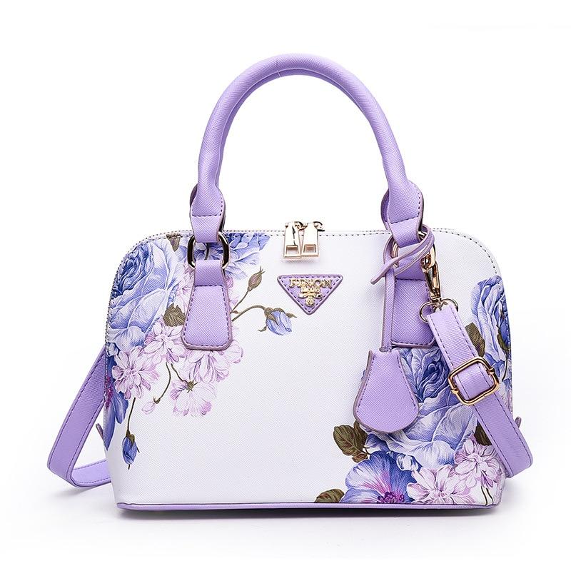 2018 New South Korea small fresh summer flower lady Shoulder Bag Handbag simple bag Pu leather lovely fashionable female bag.