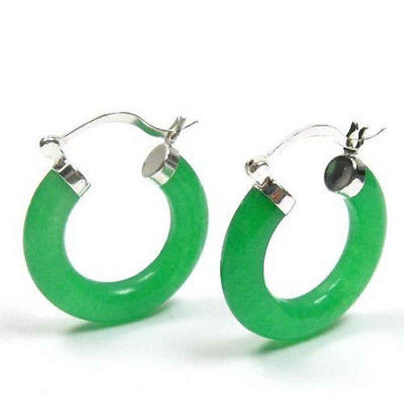 סיטונאי מחיר סיטונאי טוב של ניו ליידי פנינה ירוקה אבן אבני חן טבעת כסף תכשיטי חישוק פירסינג עגילים לנשים