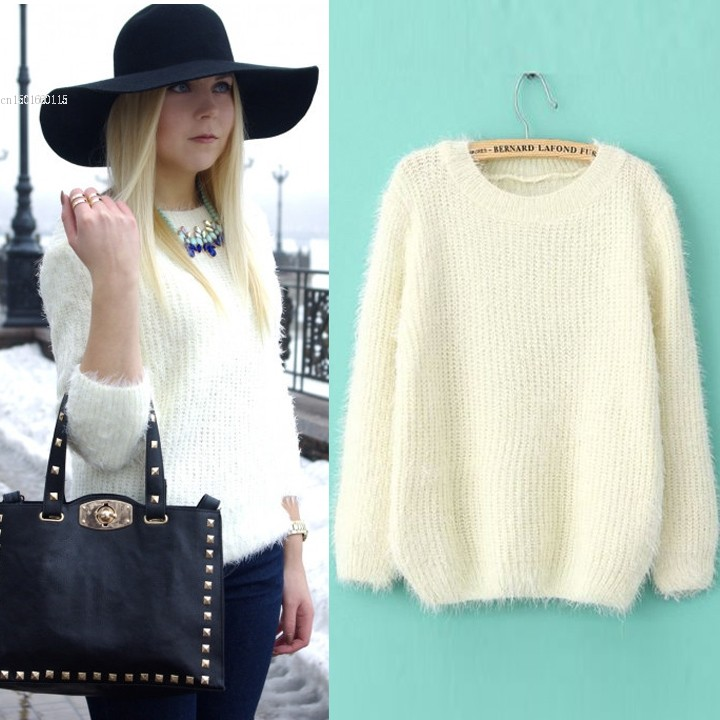 Valentines Day gift New Autumn/Winter Fashion Women Design O-Neck Beige Long Sleeve Knitted Shaggy Work Loose Casual Sweater