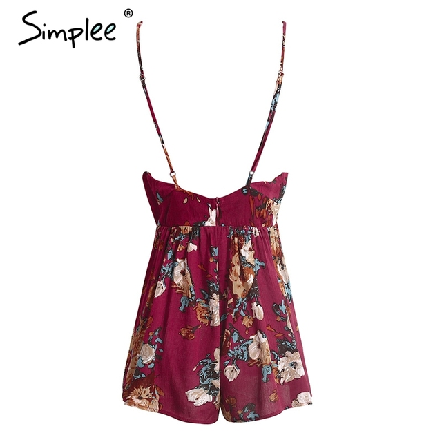 Simplee Sexy flower print backless jumpsuit romper Elegant sleeveless hollow out short playsuit Summer beach slim overalls 2017