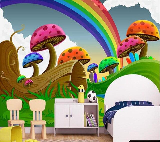 Beibehang Wallpaper Ruang Tamu Tv Latar Belakang Cute Rainbow Jamur Gambar Kartun Kertas Dinding