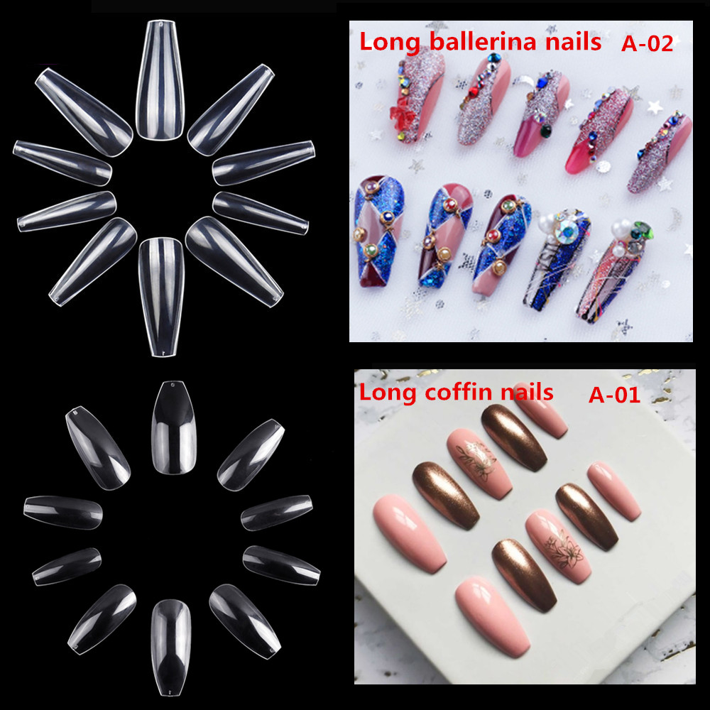 Makartt  Long Coffin Nails 500pcs Ballerina Nail Tips Clear Natural Tips Full Cover Acrylic False Nails Manicure Nail TipsMakartt  Long Coffin Nails 500pcs Ballerina Nail Tips Clear Natural Tips Full Cover Acrylic False Nails Manicure Nail Tips