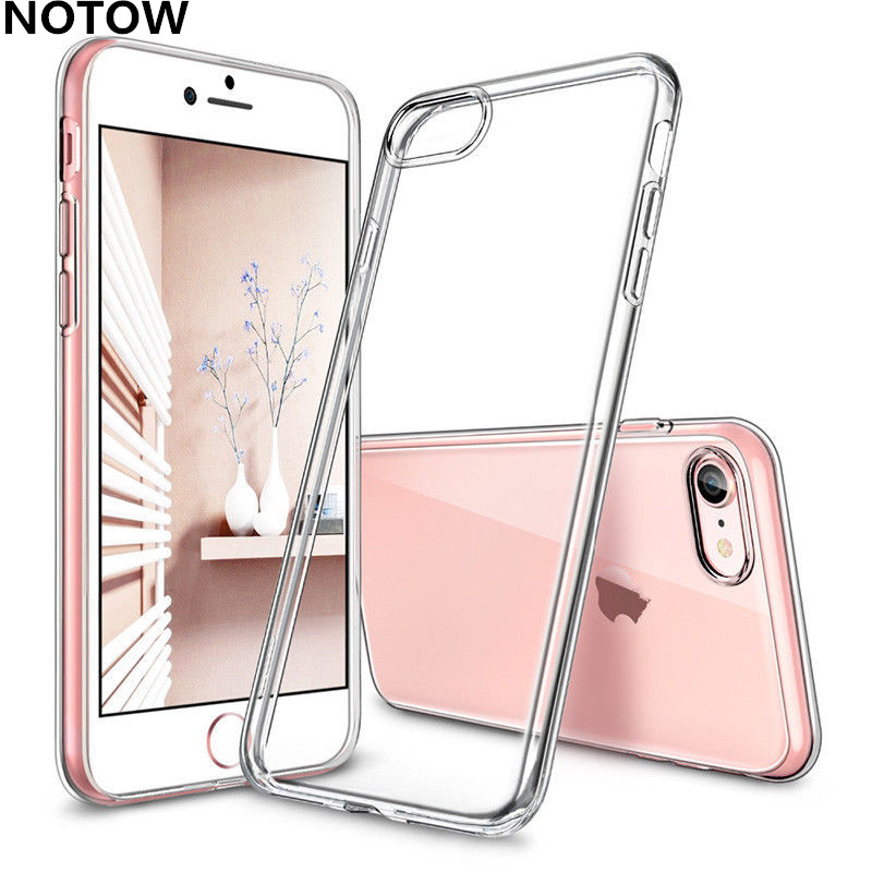 NOTOW Silicone gel Blank Skin Cell phone Luxury Shell Clear Soft TPU Case Crystal Cover for iphone7plus 8Plus 6 6S/X/6Plus