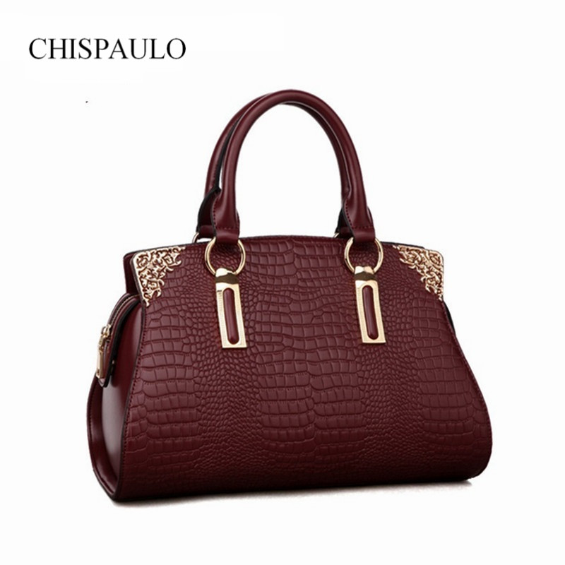 ФОТО 2017 New Fashin Women Genuine Leather Bag Allogator Shoulder Handbag Elegant Famous Brand Vintage Messenger Luxury Ladies Bolsa