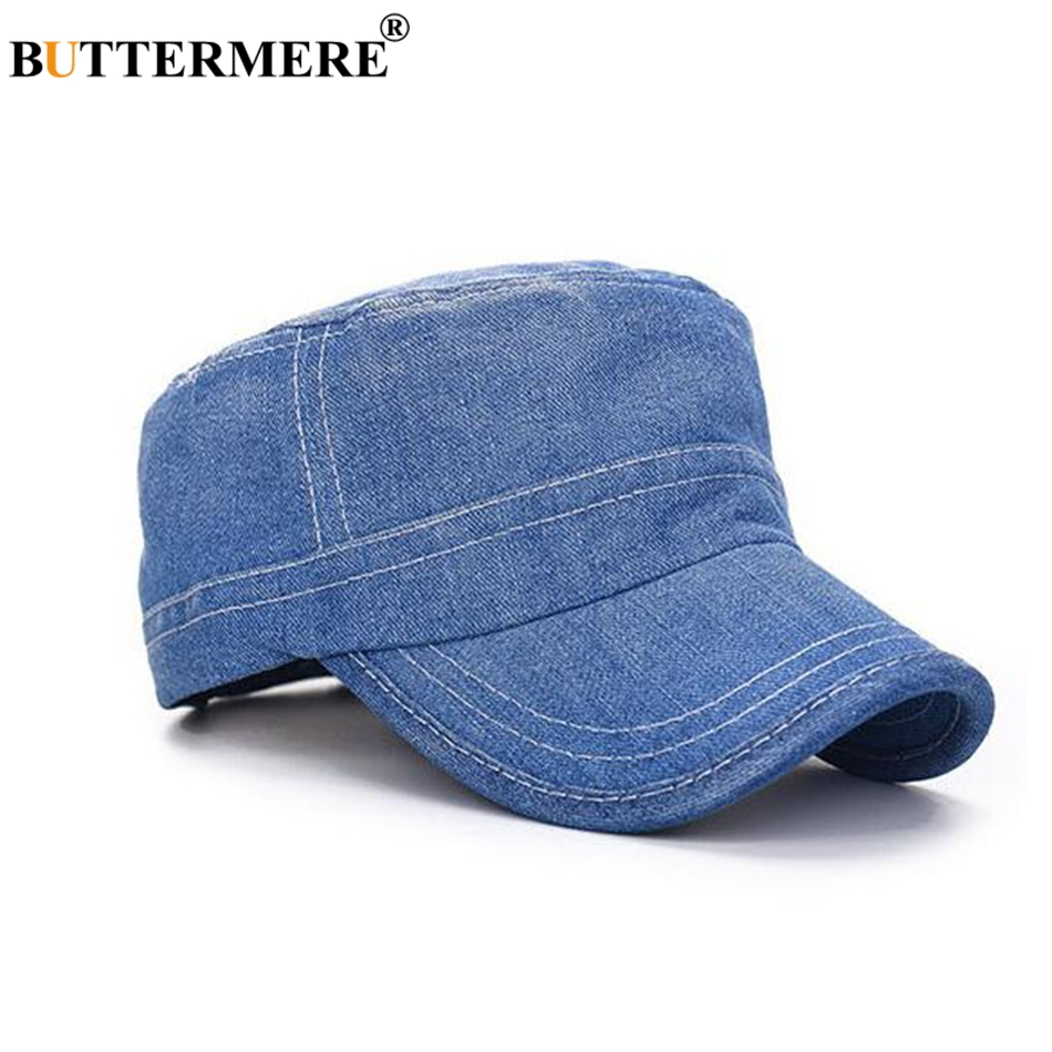 Women Military Hats Denim Cap Navy Blue Army Caps For Men Adjustable Summer  Casual Vintage Sailor Flat Top Cap 02218806b5