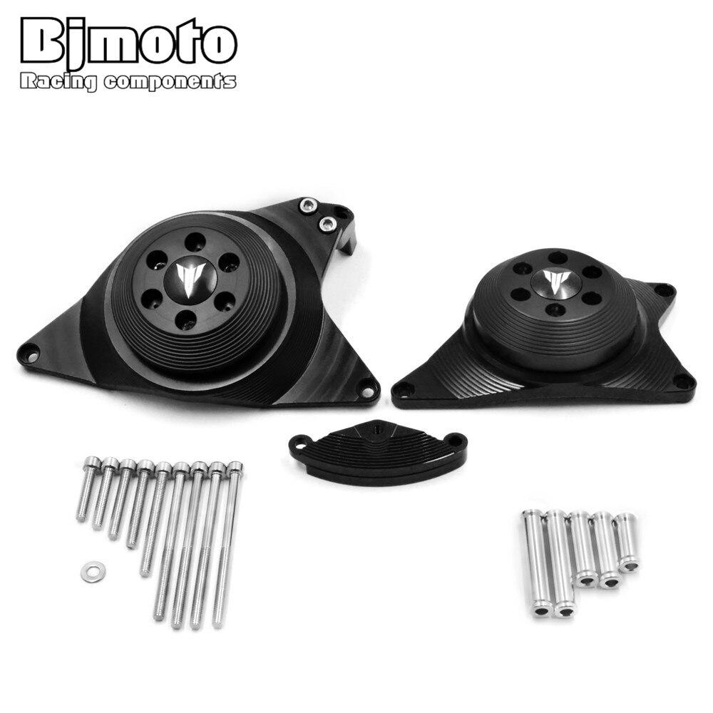 купить Bjmoto Motorcycle moto MT-09 FZ-09 Engine Stator Case Cover Engine Protective Cover Protector For Yamaha MT09 FZ09 2013-2017 по цене 6575.36 рублей