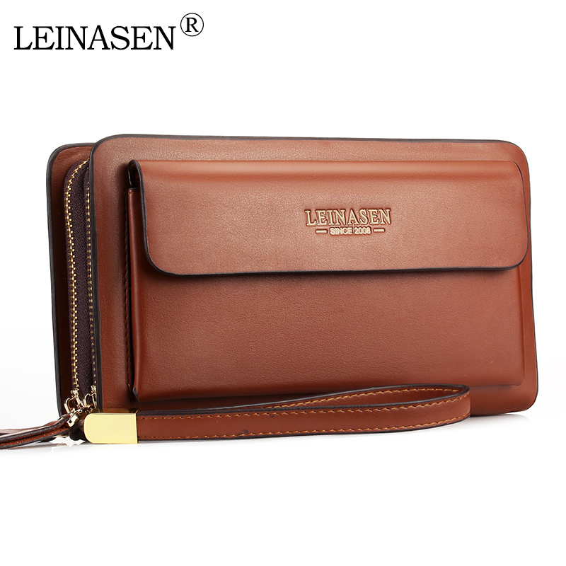 LEINASEN Brand Men Wallets With Coin Pocket Zipper Double Zipper Male Wallet Long Large Men Purse Coin Clutch Bag Black Business