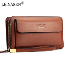 LEINASEN Brand Men Wallets with coin pocket zipper Double Zipper Male Wallet long Large Men Purse coin clutch bag black Business